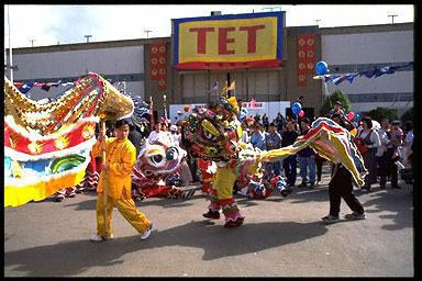 California, celebration, lion dance, Tet, Tet Festival, traditional costume, Vietnamese American